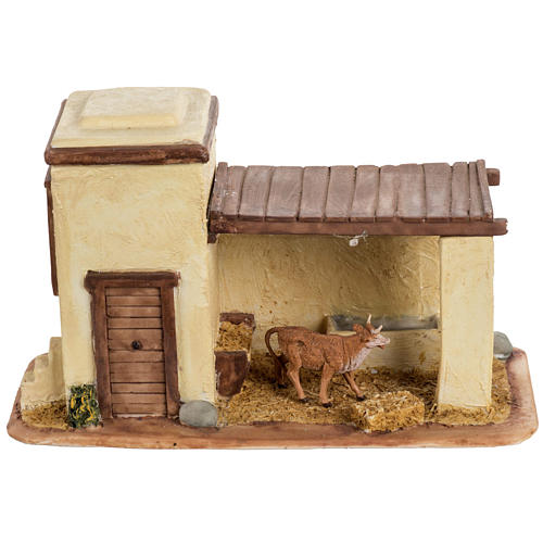 Stalla con mucca per villaggio Fontanini cm 6.5 1