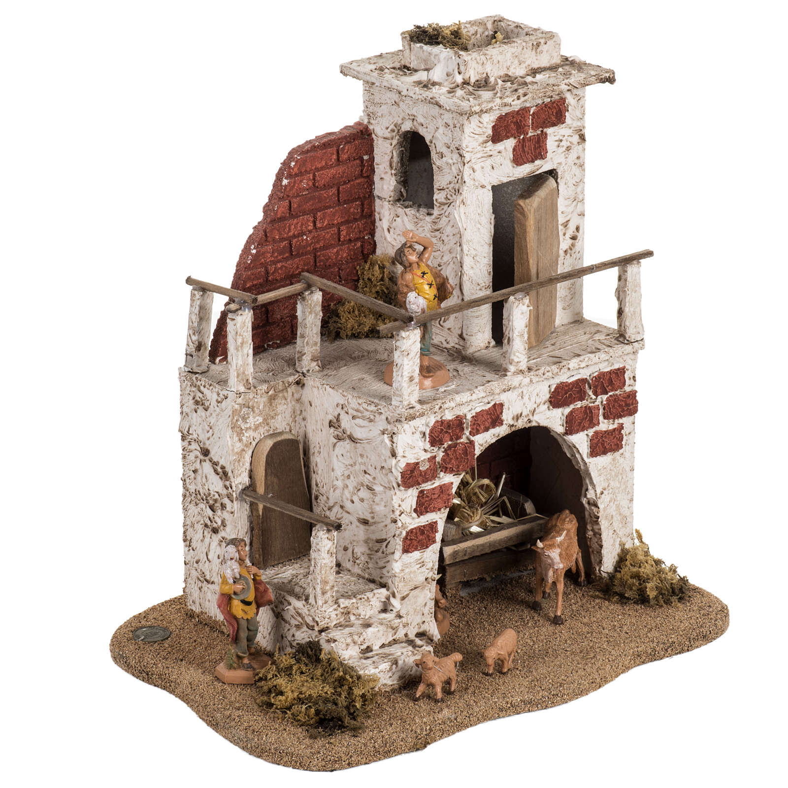 Maison avec étable crèche de Noel Fontanini 6,5 cm 3