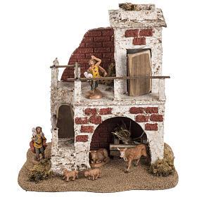 Maison avec étable crèche de Noel Fontanini 6,5 cm s1