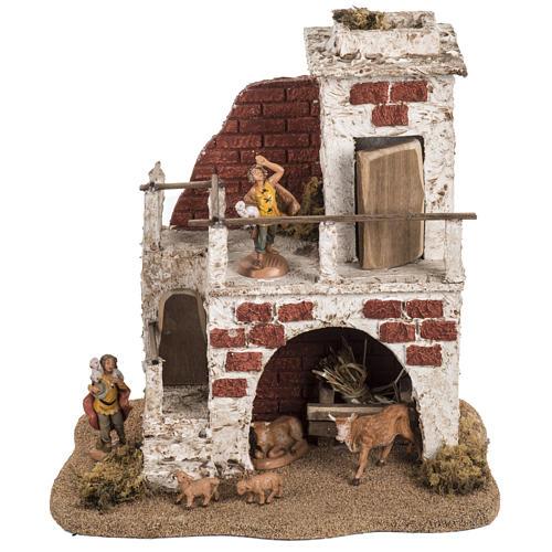 Maison avec étable crèche de Noel Fontanini 6,5 cm 1