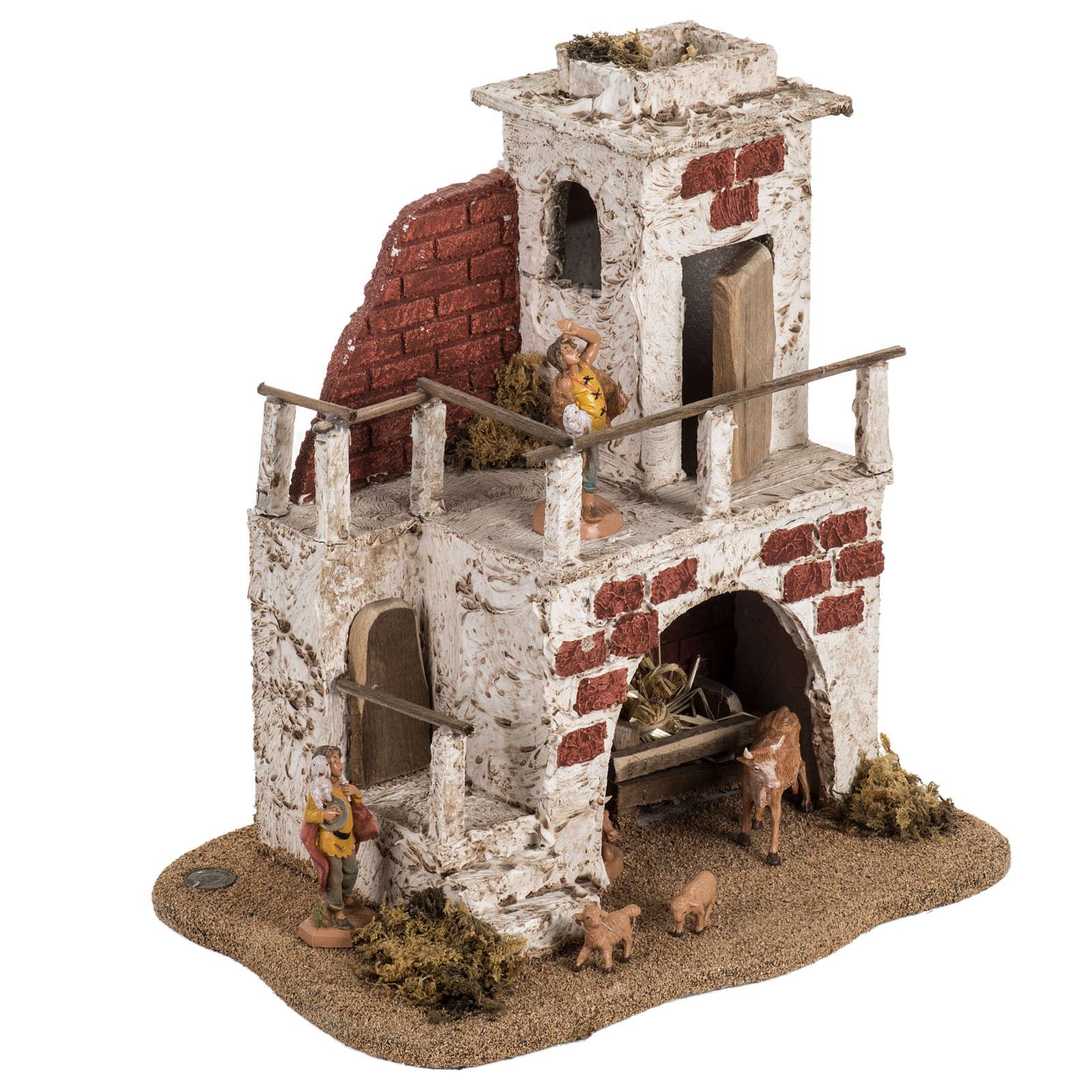 Casa con stalla per villaggio Fontanini cm 6.5 3