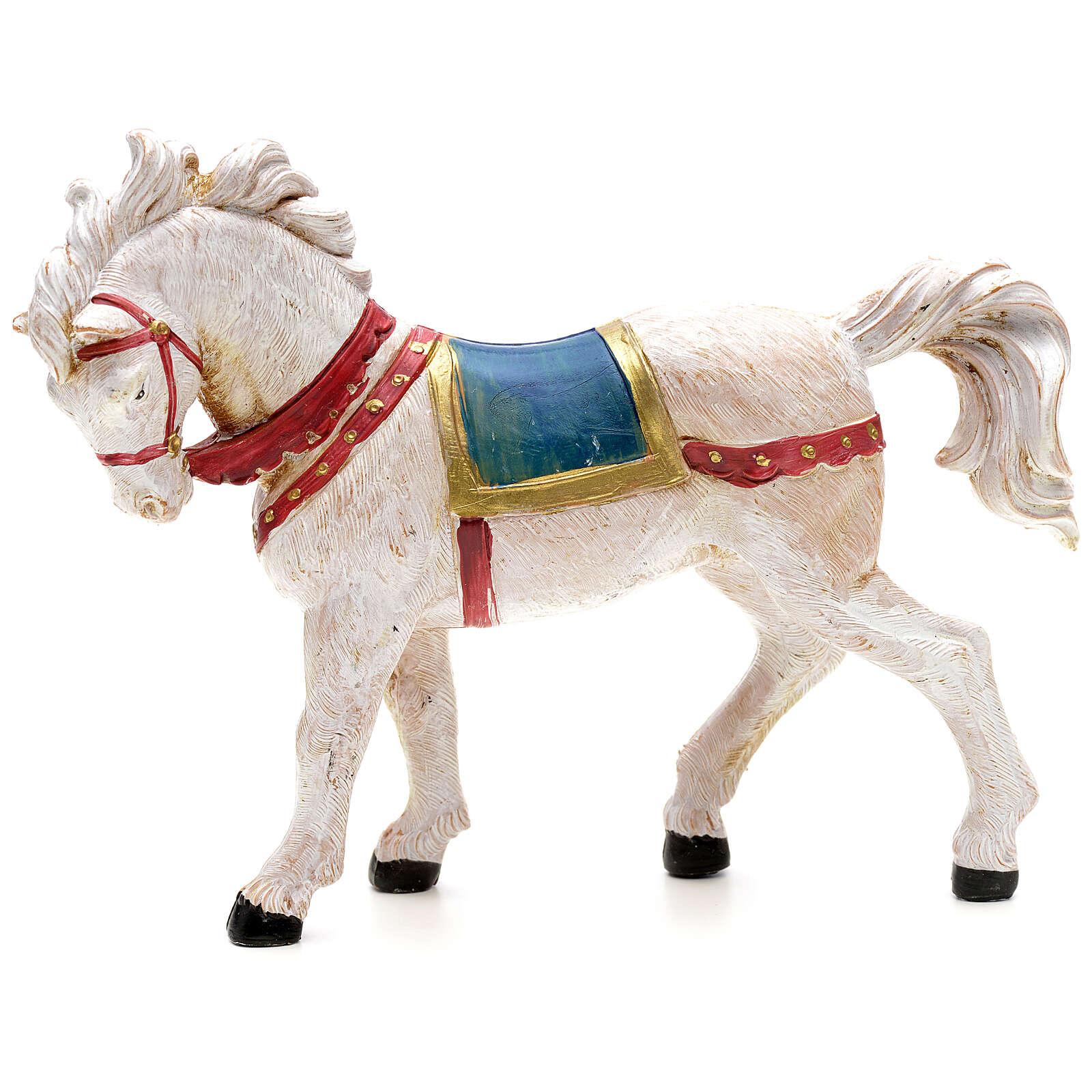 Cavalo branco para Presépio Fontanini com figuras de altura média 12 cm 4