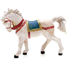 Cavalo branco para Presépio Fontanini com figuras de altura média 12 cm s1