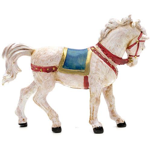 Cavalo branco para Presépio Fontanini com figuras de altura média 12 cm 2