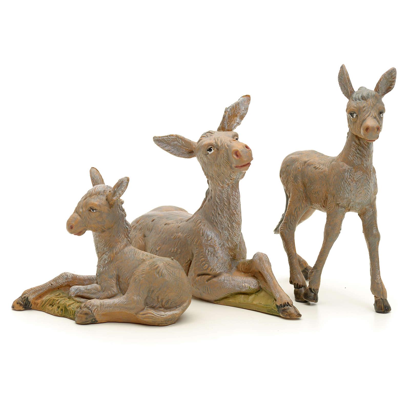 Famiglia di asini presepe 12 cm Fontanini 3 pz 4