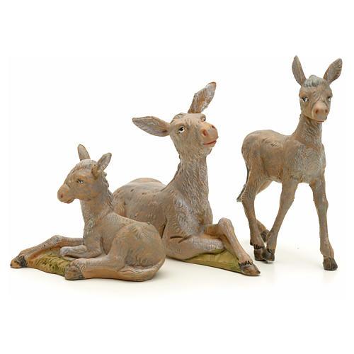 Famiglia di asini presepe 12 cm Fontanini 3 pz 1
