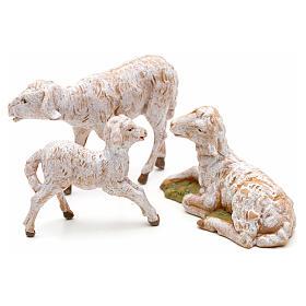 Familia de ovejas 3 pz para Belén de altura media 12 cm Fontanini pvc s2