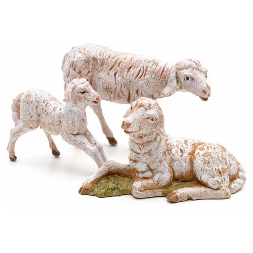 Familia de ovejas 3 pz para Belén de altura media 12 cm Fontanini pvc 1