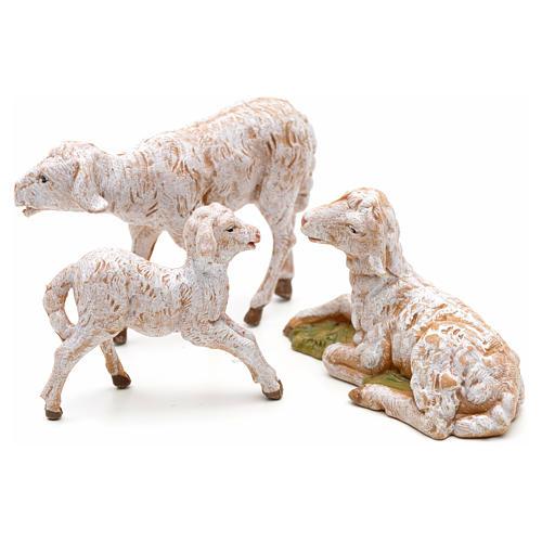 Familia de ovejas 3 pz para Belén de altura media 12 cm Fontanini pvc 2