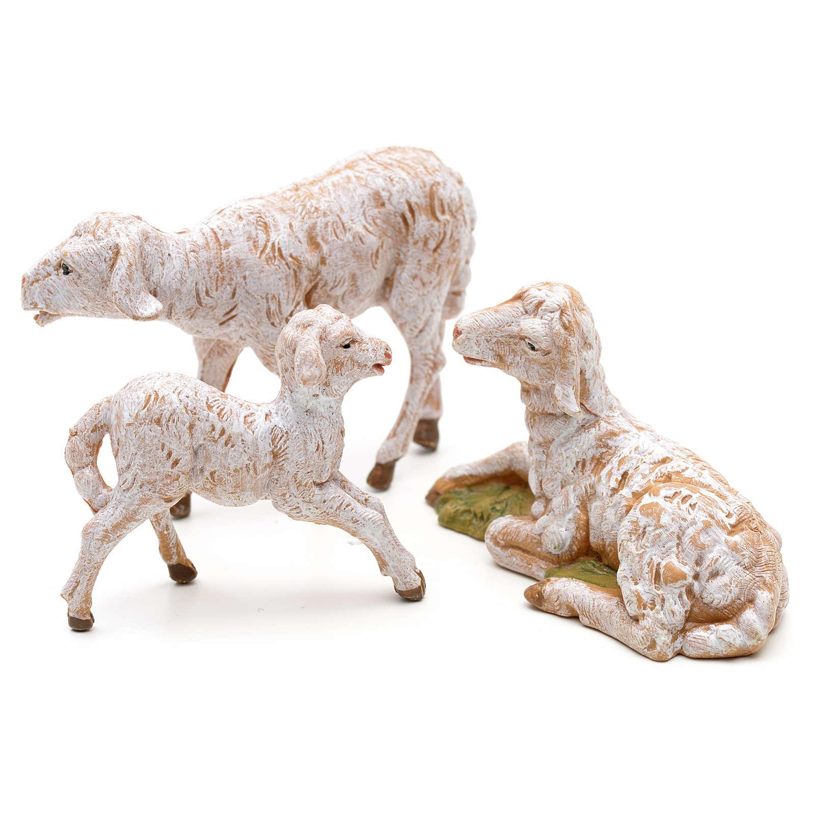 Famiglia di pecore 3 pz cm 12 Fontanini pvc 3