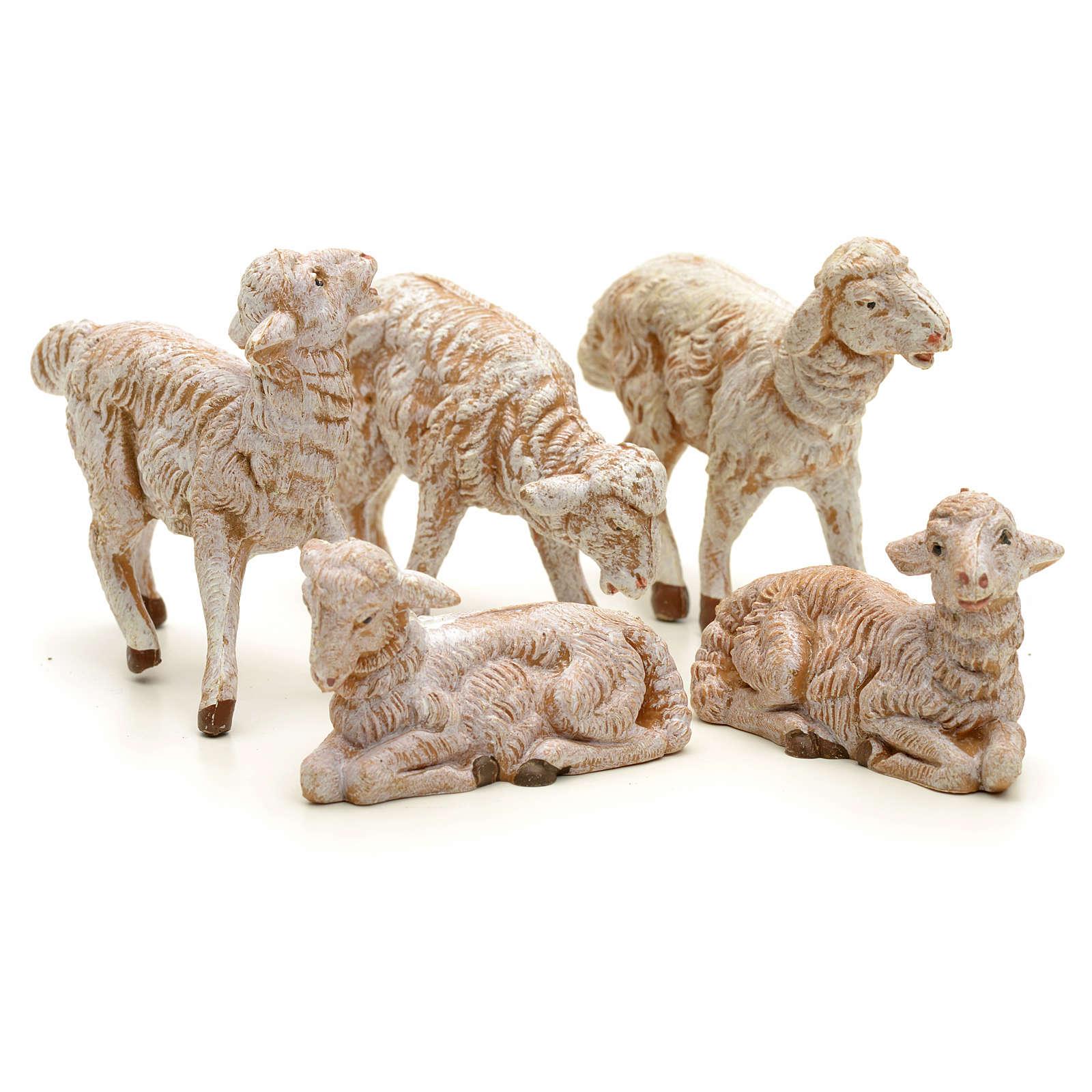 Ovelhas presépio para Presépio Fontanini com pastores de altura média 12 cm 5 peças 3