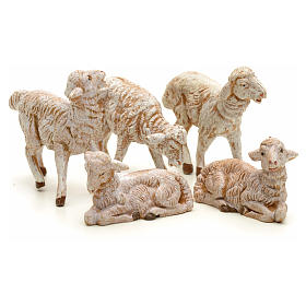 Animais para Présepio: Ovelhas presépio para Presépio Fontanini com pastores de altura média 12 cm 5 peças