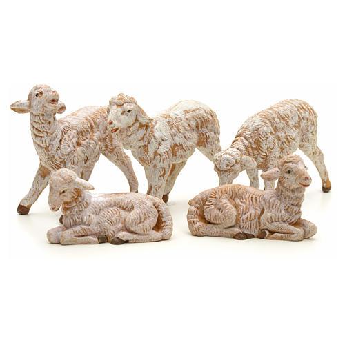 Ovelhas presépio para Presépio Fontanini com pastores de altura média 12 cm 5 peças 2