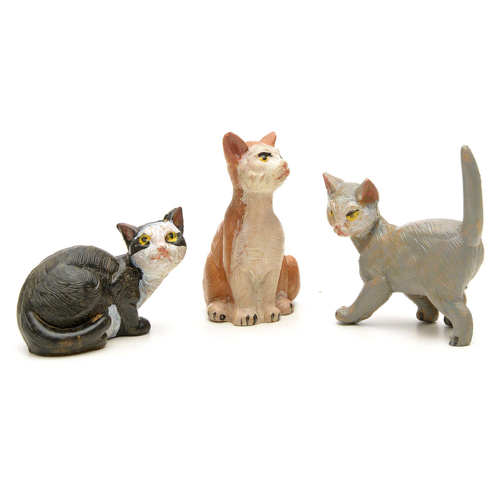 Katzen 3 Stücke Krippe Fontanini 4