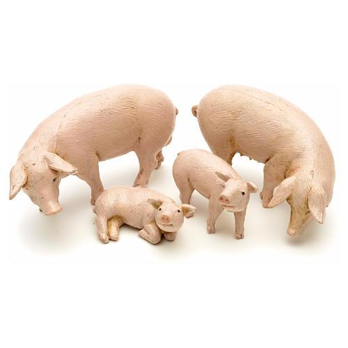 Famille de porcs pour crèche 12 cm Fontanini 4 pcs 1