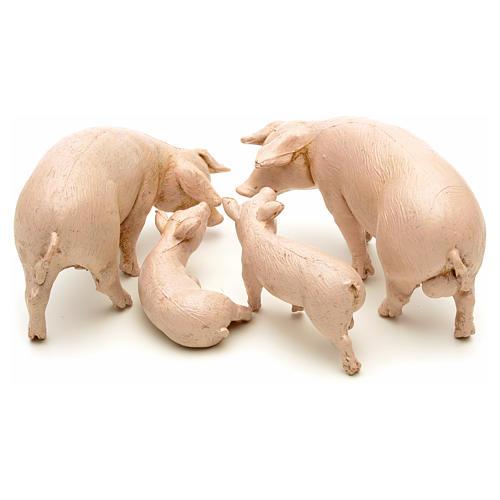 Famille de porcs pour crèche 12 cm Fontanini 4 pcs 2