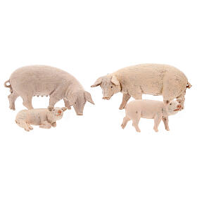 Vara de porcos 4 peças para Presépio Fontanini com figuras de altura média 12 cm s1