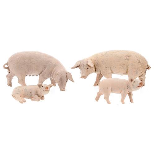 Vara de porcos 4 peças para Presépio Fontanini com figuras de altura média 12 cm 1