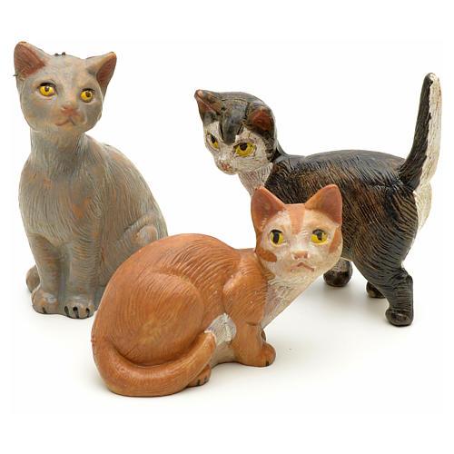 Familia de gatos para belén Fontanini de altura media 19 cm 1