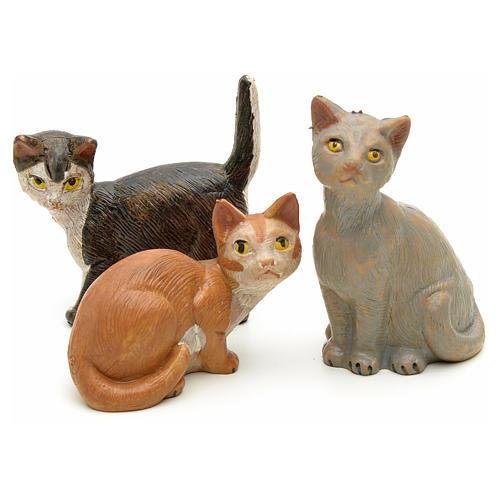 Familia de gatos para belén Fontanini de altura media 19 cm 2
