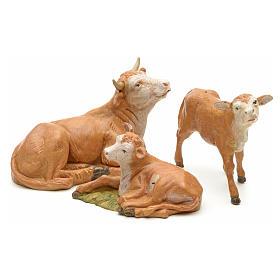 Vaca com 2 vitelos para Presépio Fontanini com figuras de altura média 12 cm s1