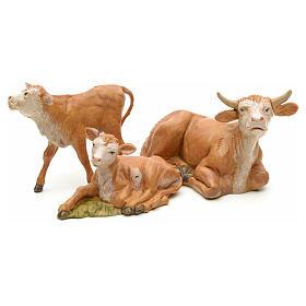 Vaca com 2 vitelos para Presépio Fontanini com figuras de altura média 12 cm s2