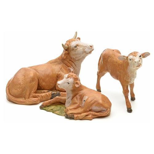 Vaca com 2 vitelos para Presépio Fontanini com figuras de altura média 12 cm 1