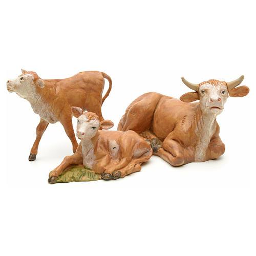 Vaca com 2 vitelos para Presépio Fontanini com figuras de altura média 12 cm 2