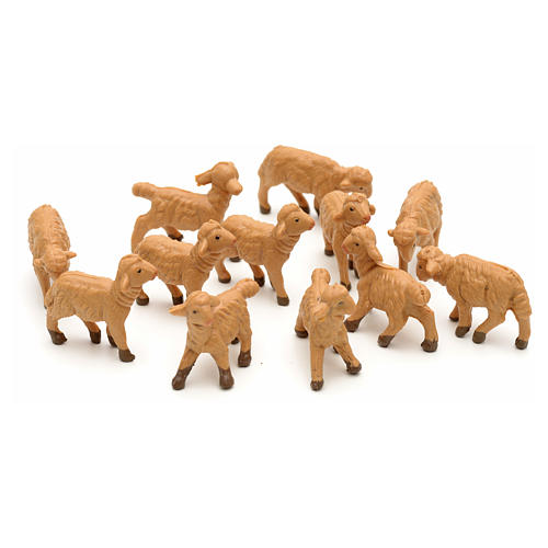 Pecore assortite 12 pezzi per presepe di altezza media 6,5 cm Fontanini 1