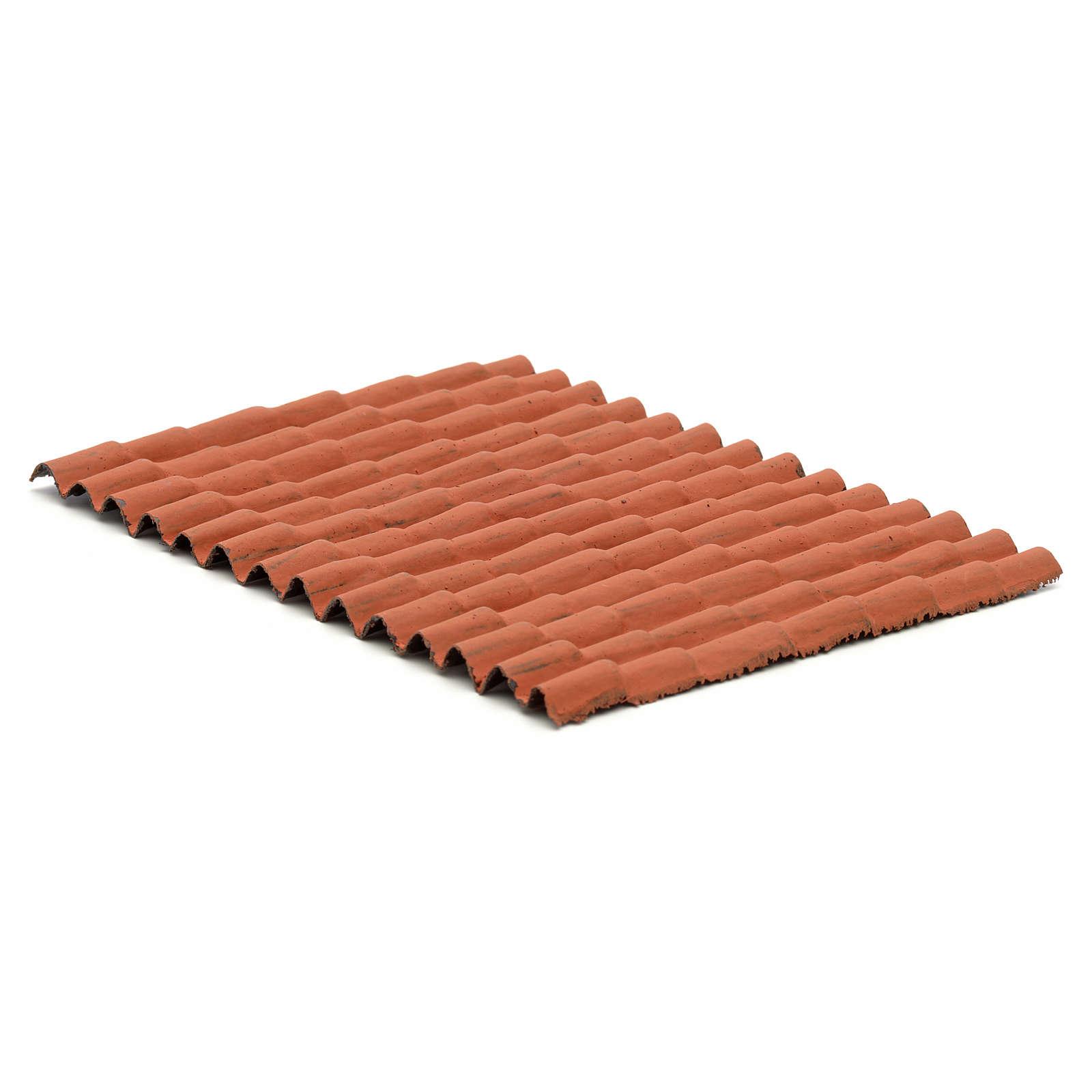 Techo casa pesebre: panel tejas rojas 12,5x9cm 4