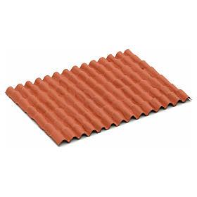 Tetto casa presepe: pannello tegole rosse 12,5x9 cm s1