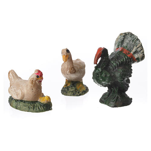 Animali da cortile 3 pz. per presepe 8 cm assortiti 1