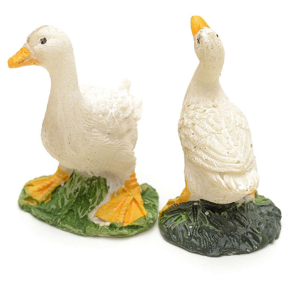 Patos en resina para pesebre set 2 pz 3