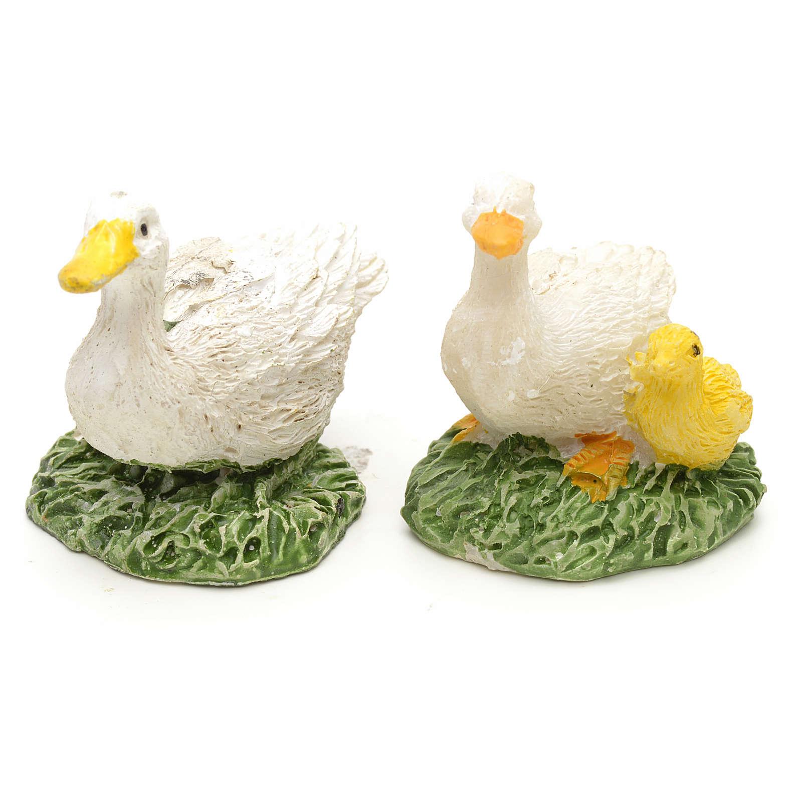 Patos en resina para pesebre ser 2pz de 2,5cm 3