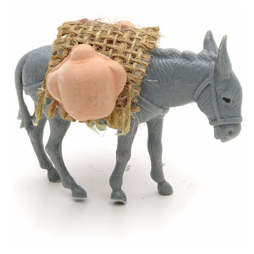 Nativity figurine, donkey with load measuring 10cm 4