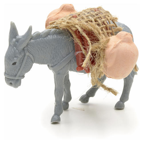 Nativity figurine, donkey with load measuring 10cm 5