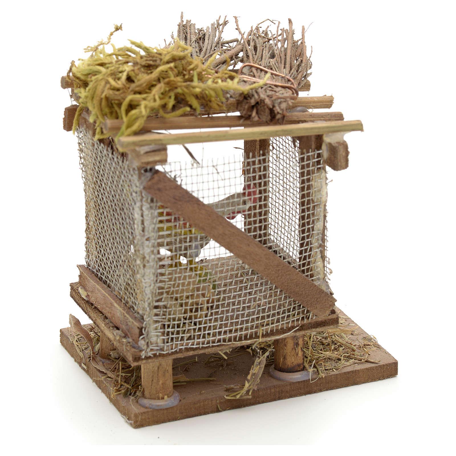 Poulailler en miniature avec poulet crèche Napolitaine 4