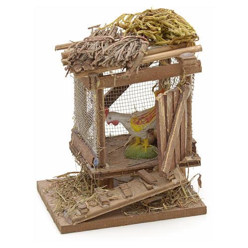 Poulailler en miniature avec poulet crèche Napolitaine 1
