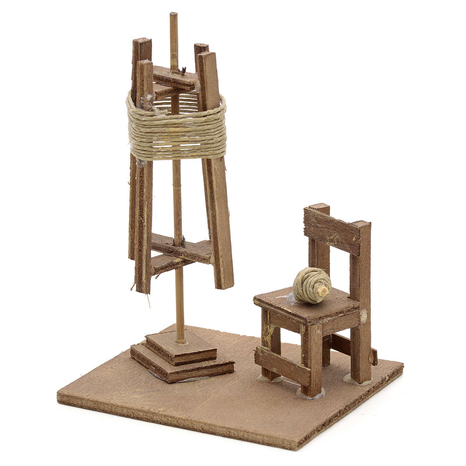 Spinnerei mit Stuhl neapolitanische Krippe 4