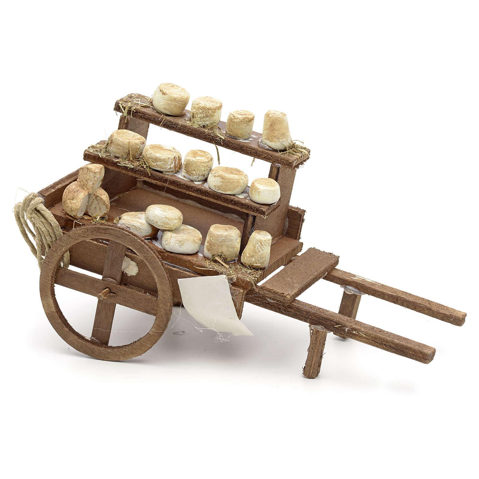 Charrette fromages en miniature crèche Napolitaine 4