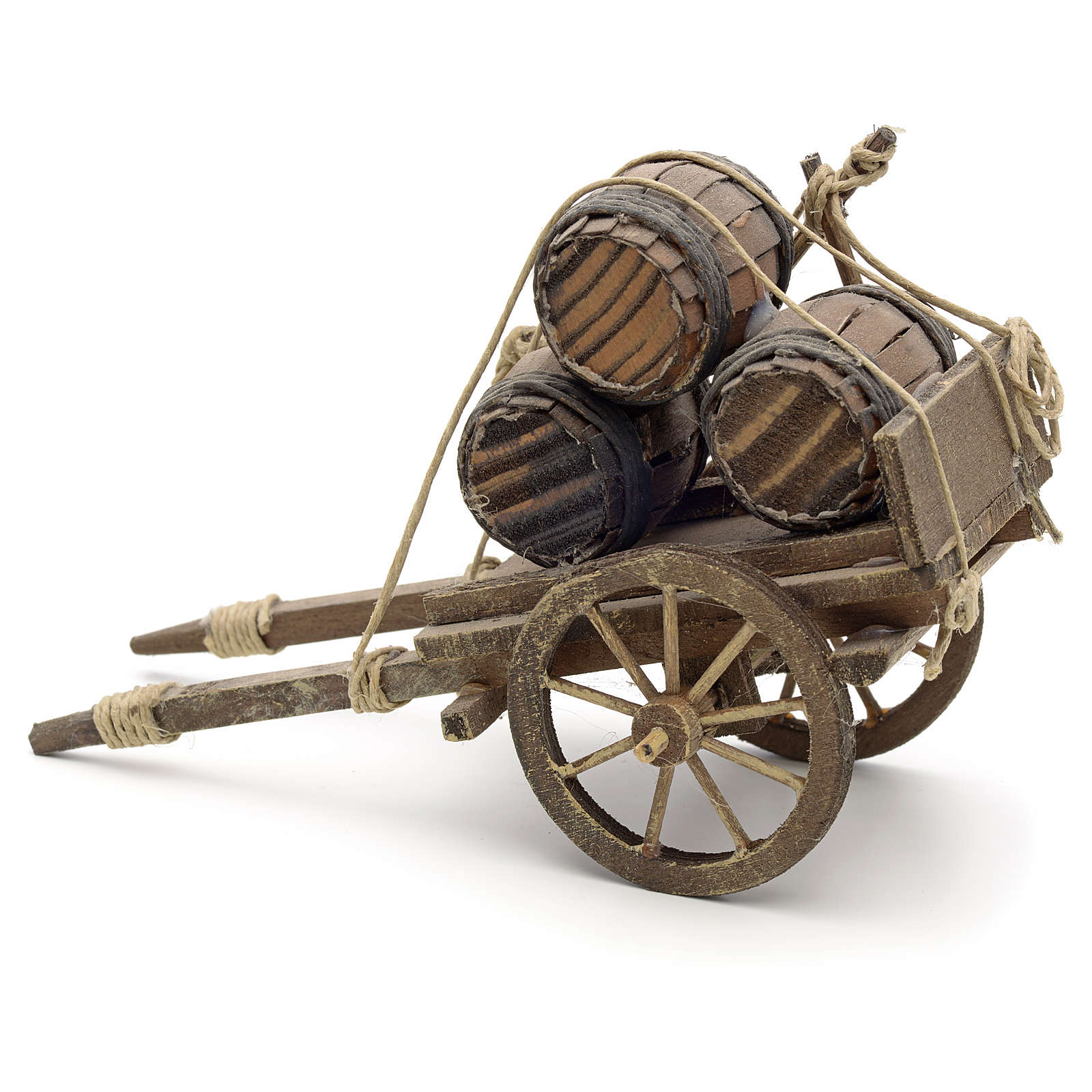 Neapolitan Nativity scene accessory, cart with casks 4