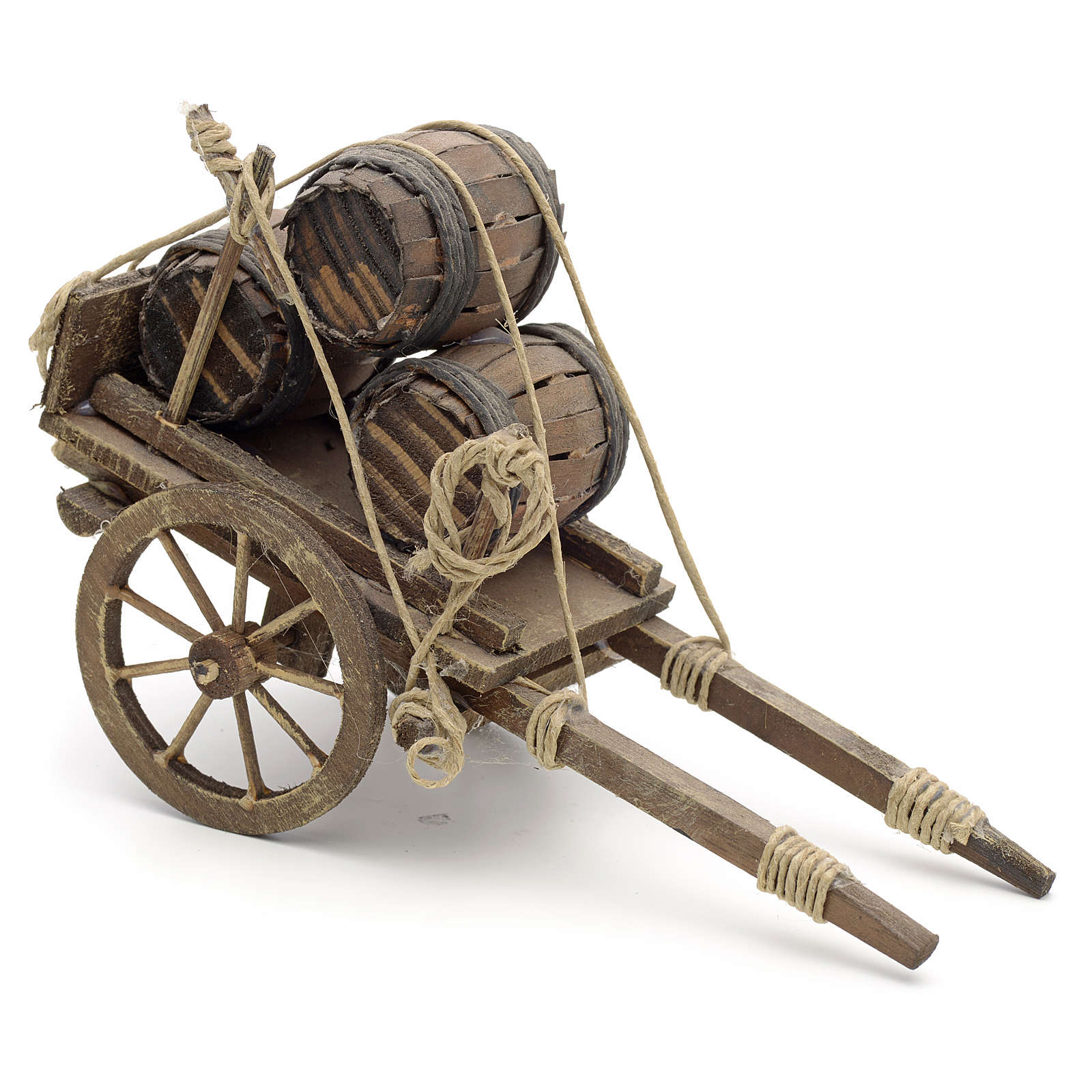 Charrette avec tonneaux en miniature crèche Napolitaine 4