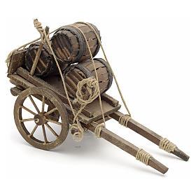 Charrette avec tonneaux en miniature crèche Napolitaine s1