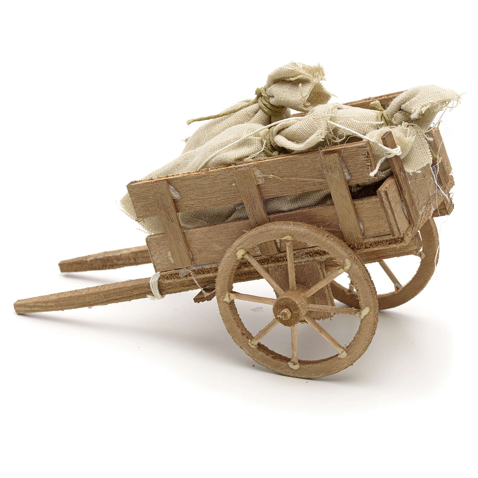 Neapolitan Nativity scene accessory, cart with sacks 4