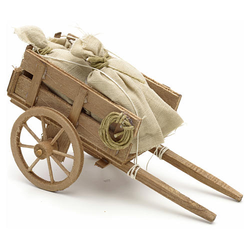 Neapolitan Nativity scene accessory, cart with sacks 1