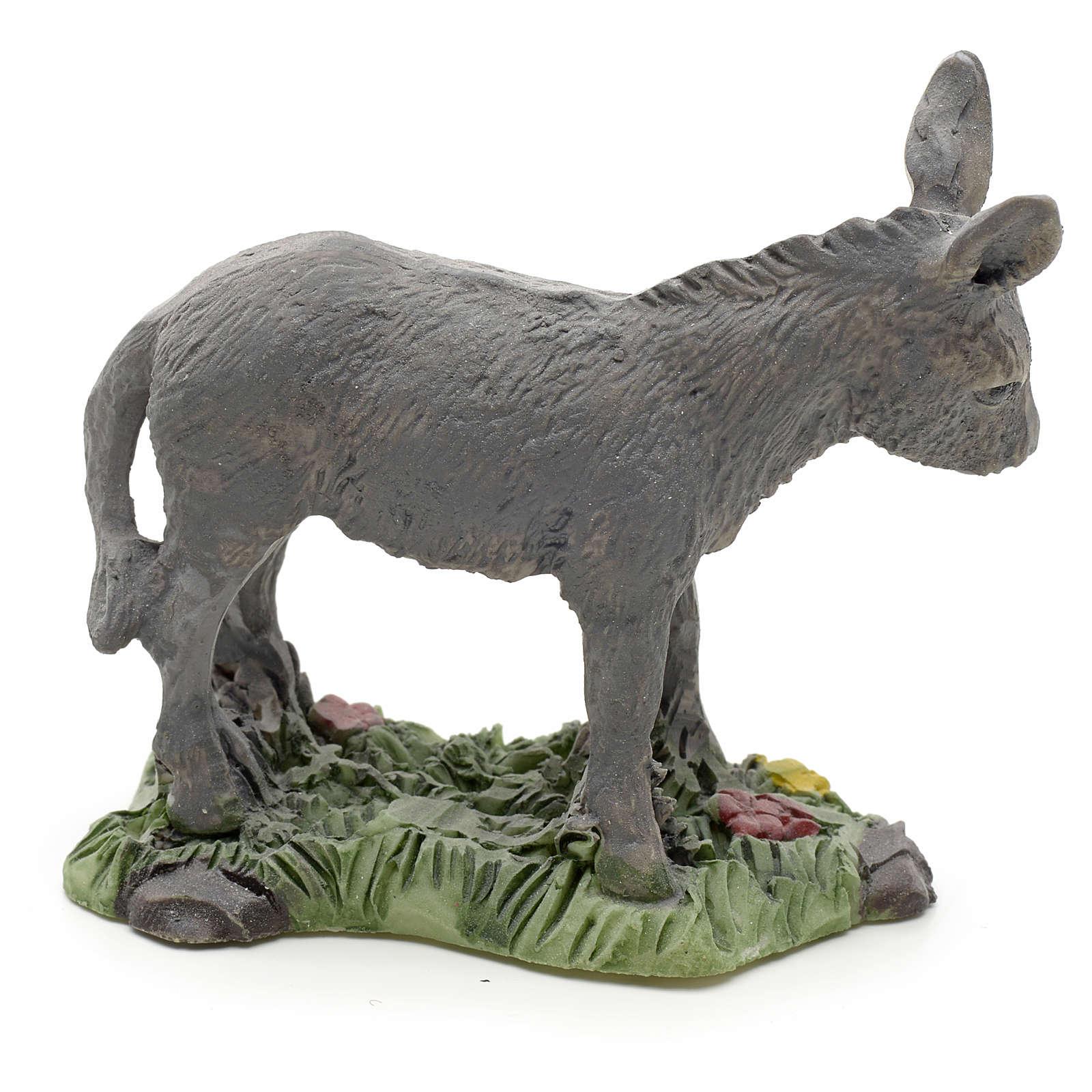 Nativity figurine, donkey in resin 8cm 3