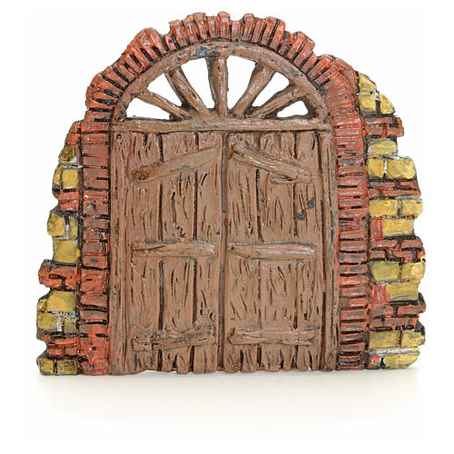 Puerta con ladrillitos pesebre 10x11cm 1