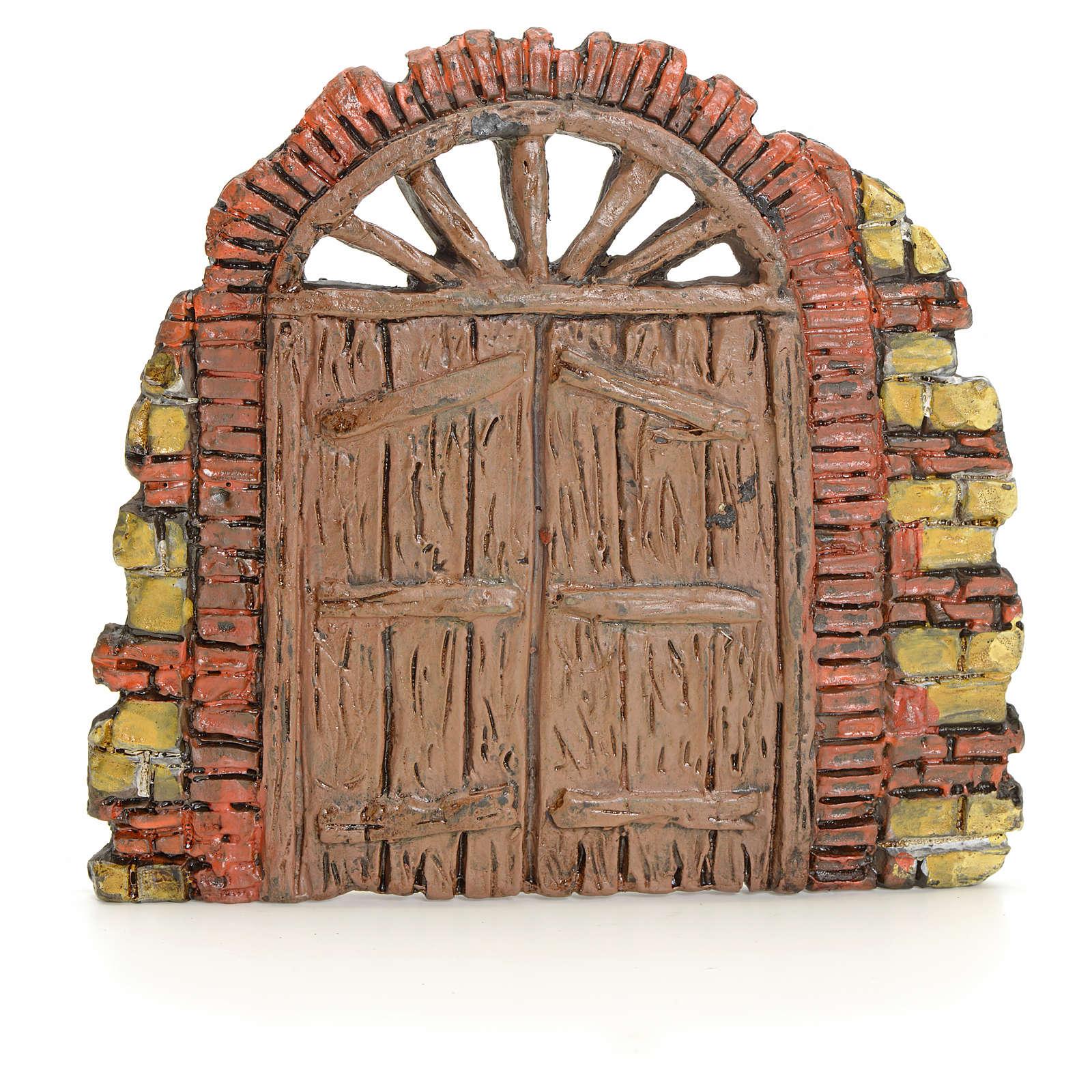 Nativity accessory, door with little bricks 10x11cm 4