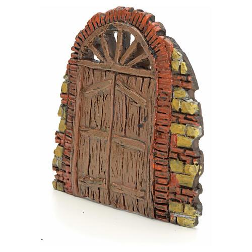 Nativity accessory, door with little bricks 10x11cm 2
