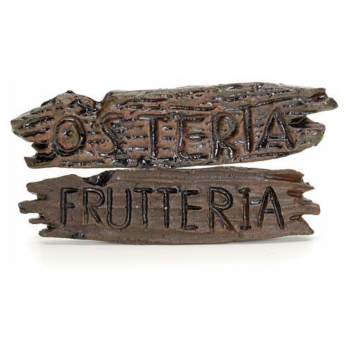 Insegne negozio presepe: osteria e frutteria 6x1,5 cm 1